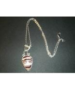 Zebra Striped Jasper Pendant Necklace Sterling ... - $14.99