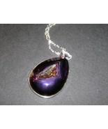 Natural Purple Titanium Druzy Agate Pendant Nec... - $12.99