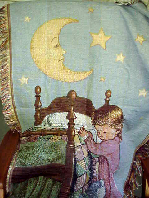 MOON  STARS   SLEEPY TIME  PRAYER   WOVEN THROW BLANKET