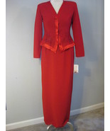 Red Formal Beaded Long Evening Suit Size 6 NWT - $68.00