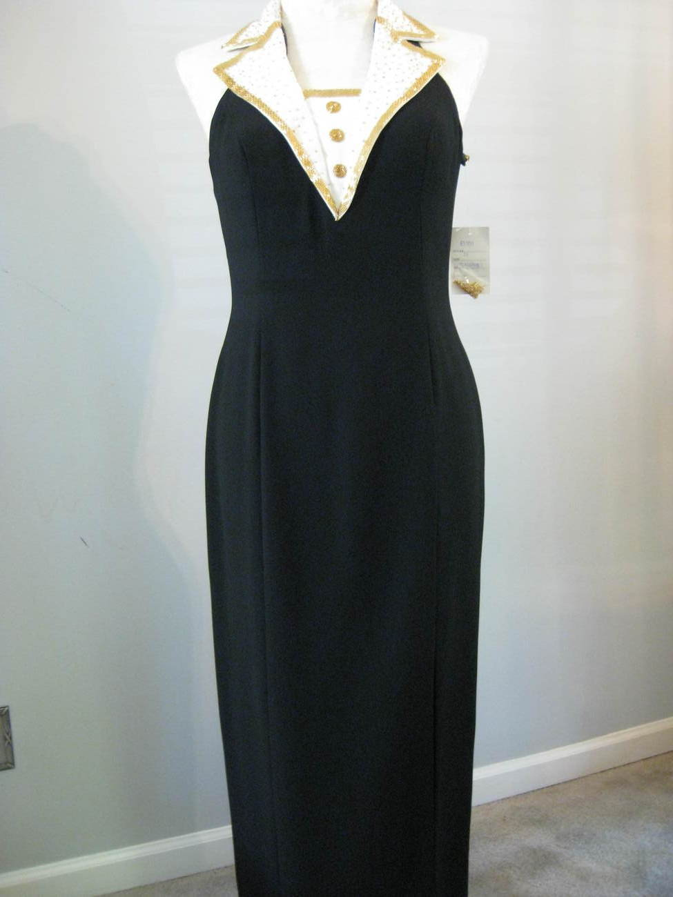 Formal Crepe Gown With Gold Beaded Collar Size 16