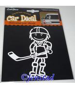 HOCKEY BOY OR GIRL CAR CARTOON TYPE DECAL WINDO... - $6.94
