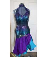 Vintage 80s dress rumba dance sequin purple tea... - $130.00