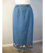 Denim & Company Ladies Denim Floral Skirt Size M - $19.00