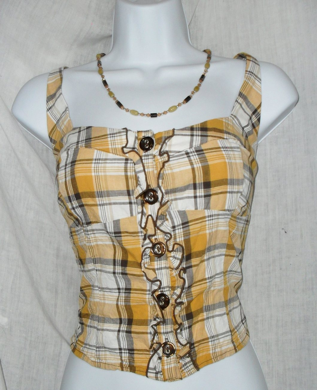 Eyeshadow Yellow & Grey Plaid Bustier Style Rockabilly Button Down Tank Top XL