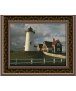 Cape Cod Homestead, Lighthouse Counted Cross St... - $20.00