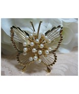 Vintage MONET Wire Butterfly w/Faux Pearls Broo... - $12.00