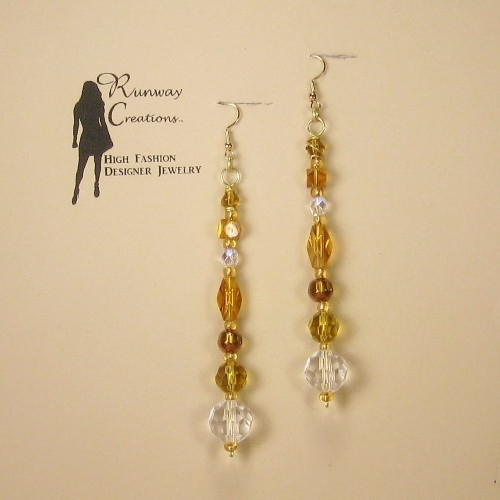 Elegant Amber Mix Glass Drop Earrings