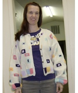 hand knitted short waist jacket size 10 in pastels - $55.00