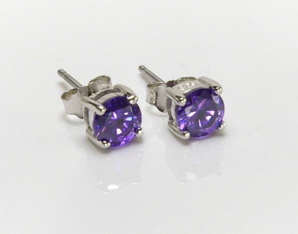 AMETHYST Purple CZ posts STUDS - Sterling Silver