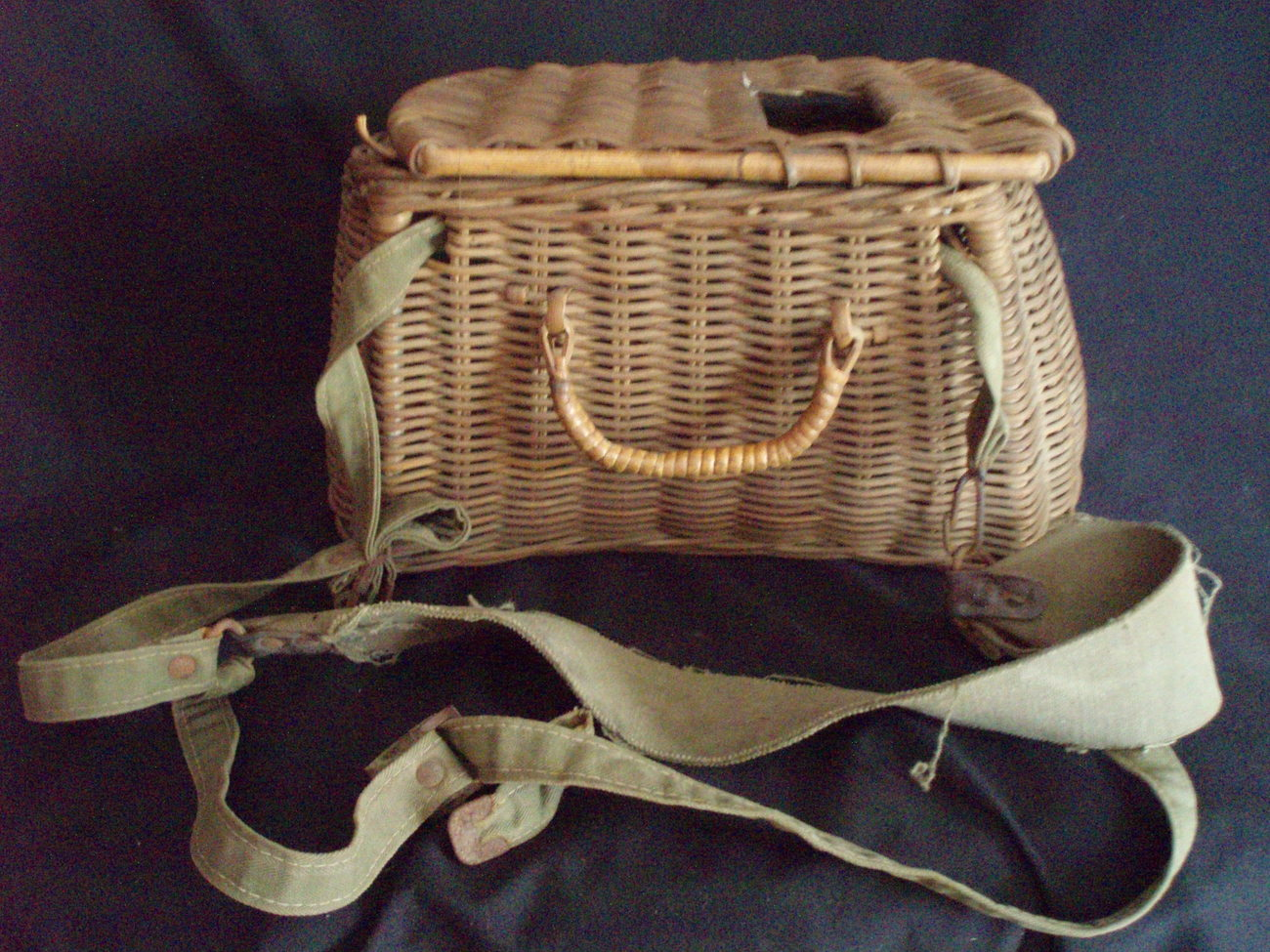 Image 0 of vintage willow fishing creel canvas straps trout creek