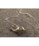 Abalone Inlay Porpoise Pendant on silver chain ... - $14.95