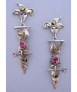 Jester Earrings Tourmaline Peridot Unique Handc... - $325.00