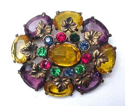 Big Antique Multi-Colored Glass Stone Jeweled Colorful Brooch Pin Rhinestone Old