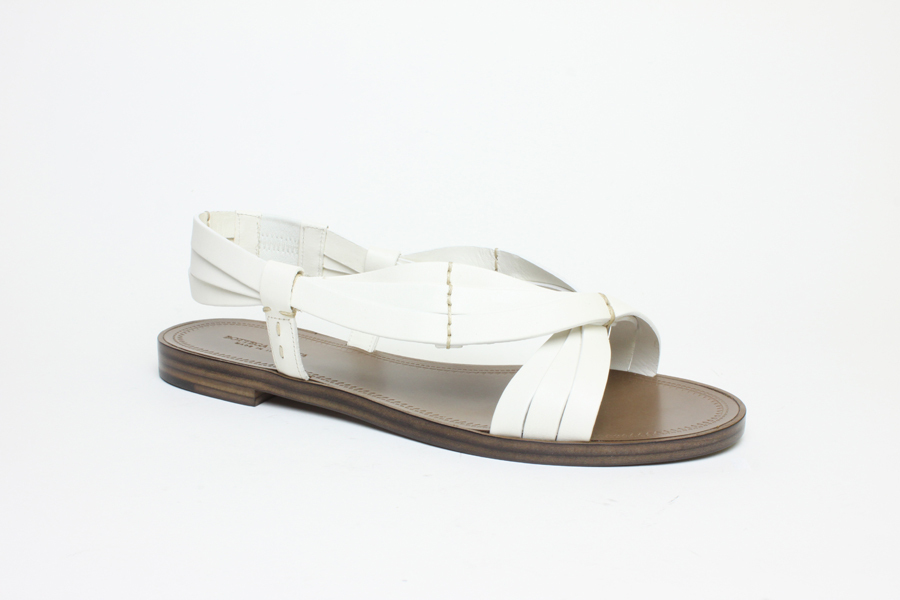 New Authentic $520 Bottega Veneta White Leather Calfskin Sandal Shoes US 8 EU 38