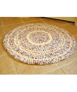 Hand crochet rag rug in vintage colors. 30&quot; round. 