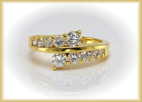 Journey Style CZ Wedding/Engagement Ring SZ 9 GOLD Pl.