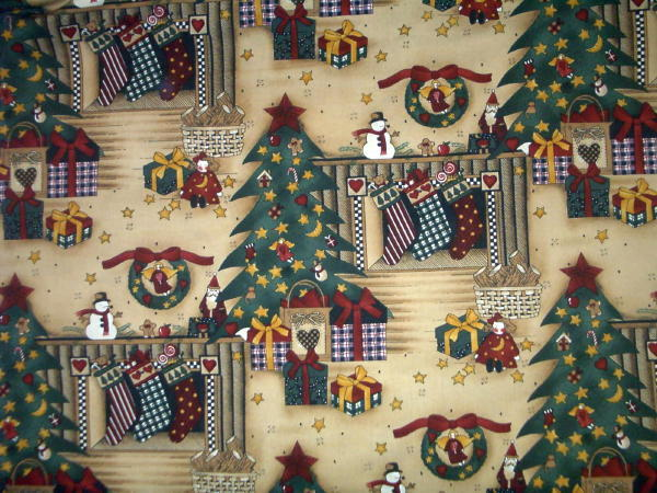 Debbie Mumm Christmas Tree fireplase Fabric Quilt or craft