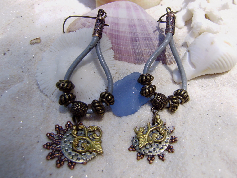 Hand Crafted Bohemian Style Mixed Metal Grey Leather Dangle Earrings