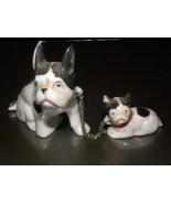 Vintage Figurine Bull Dog And Pup Ceramic Minia... - $12.00