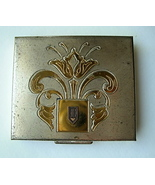Vintage Two Tone Metal Compact Deco Design Unus... - $20.00