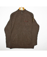 Men's Sweater Brown 1/4 Zip Pockets Harley-Davi... - $69.99