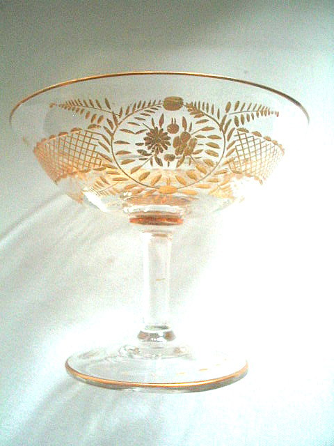 Antique Estate Gold Etched Champagne or Sherbert Glass Victorian Edwardian