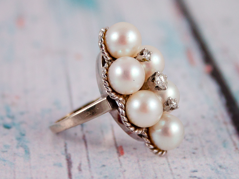 Vintage 14K White Gold Pearl & Diamond Ring Wedding Art Deco