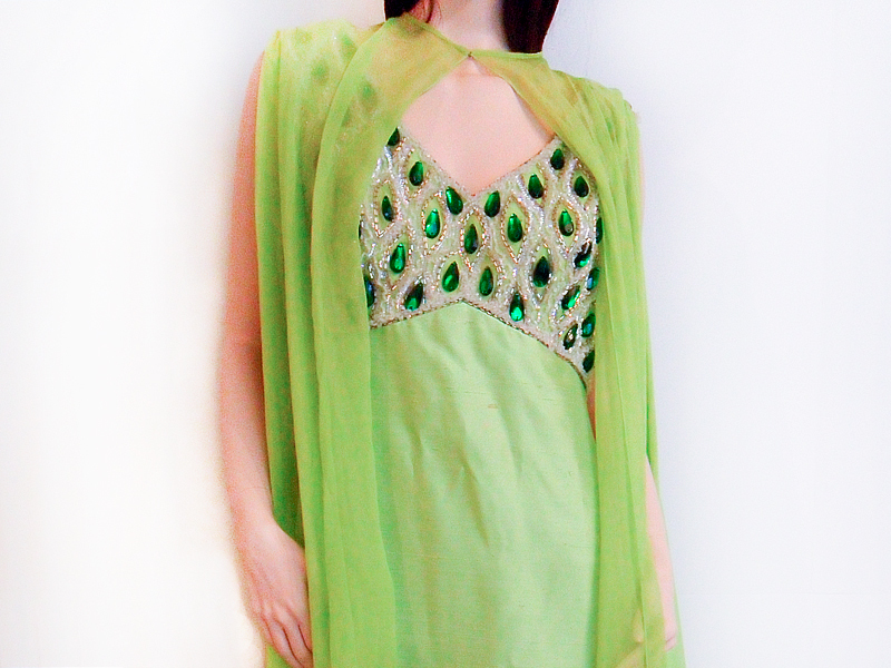 Vintage 1960's Floor Length Green Raw Silk Beaded Gown Dress