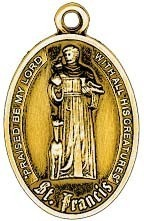 ANTIQUE GOLD LG St Francis Pet Medal