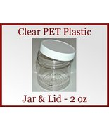 10 Empty 2oz Clear PET Plastic Lotion Jars with White Ribbed Lids 48/400