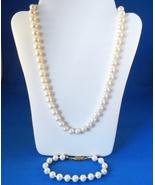 Vintage Faux Pearl Strand Necklace & Bracelet S... - $15.99