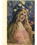 EDWIN WASKOW 1907 BEAUTIFUL WOMAN LONG HAIR FLO... - $5.89