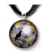 Raven Crow Bird Gray Rain Yellow Gingko Leaves ... - $32.99
