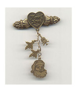 Christmas Santa/Charm Brooch Pin Signed Top Shelf - $11.99