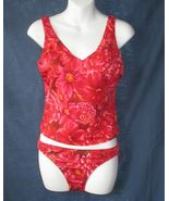 6 Shape fx Underwire Two Piece Tankini Red Flor... - $24.99