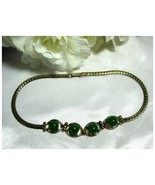 Vintage Gold Tone Choker Necklace w/Green Therm... - $14.00