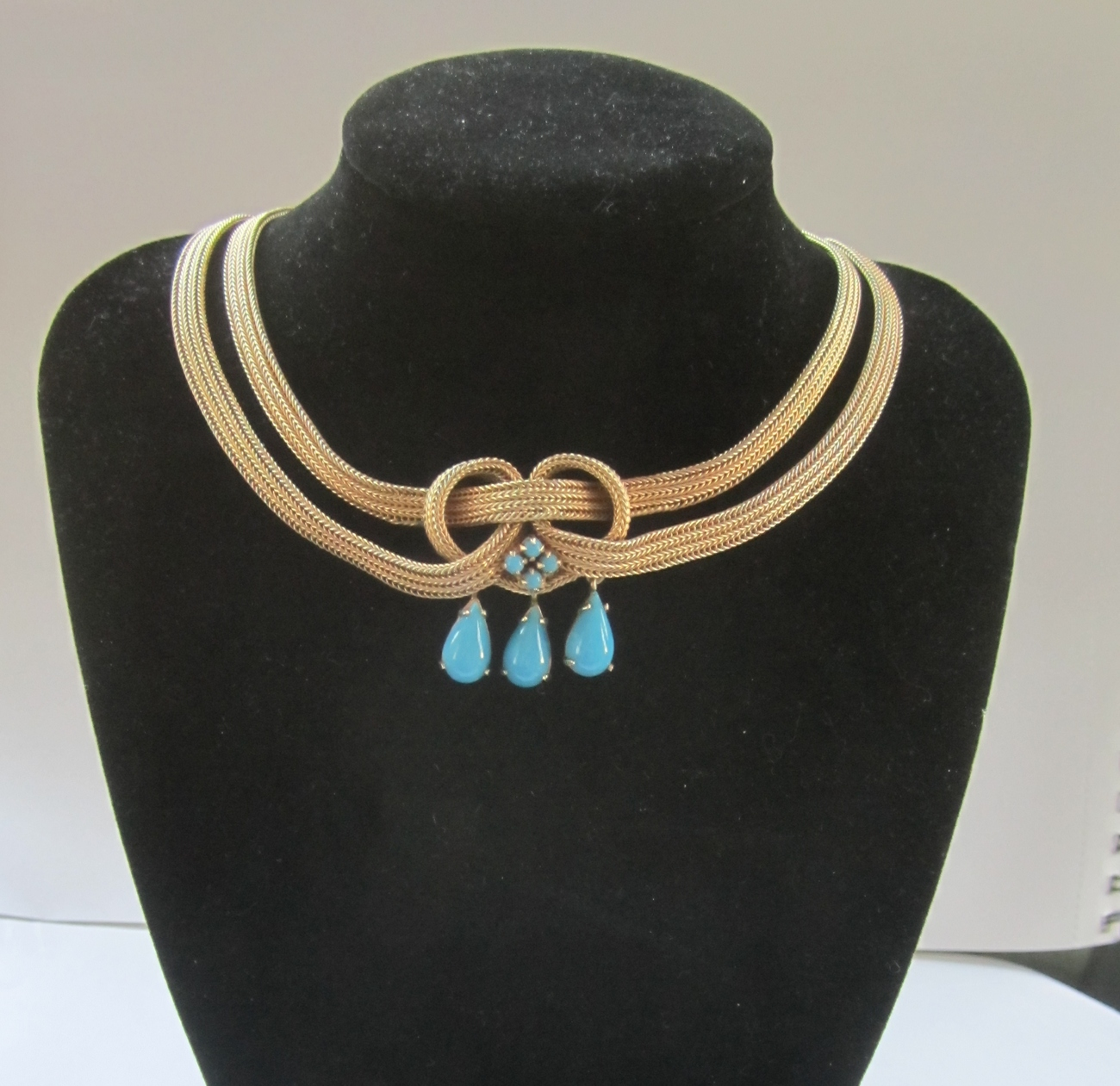 Henkel & Grosse for Dior Faux Turquoise Drops Necklace Germany 1960.
