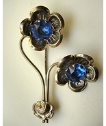 Vintage Flower Brooch Pin with Big Blue Rhinest... - $15.00