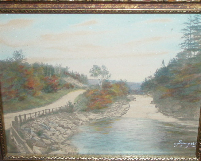 Charles H Sawyer hand tint photo Ammonoosuc Falls