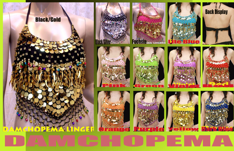 Belly Dance,Dancing Costume Backless Sequin Top