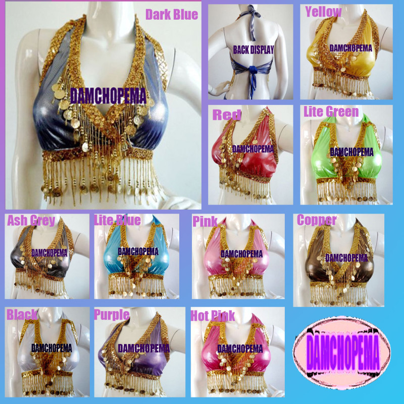 Belly Dance,Dancing Costume Gold Coin Halter Bra Top