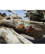 Brown Tiger's Eye Peridot earrings Sterling Silver - $12.99