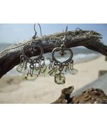 Genuine Peridot chips heart dangle earrings - $8.50