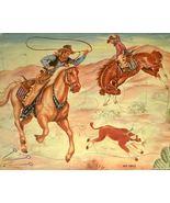 50s Print Cowboys Tray Puzzle Roping Calf Bucki... - $8.00