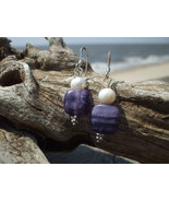 Flourite White Pearl earrings Sterling Silver ... - $12.50
