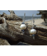 Freshwater Pearl and Iolite earrings sterling s... - $12.50