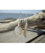 Pink Quartz Aventurine Mother of Pearl earrings... - $12.50