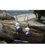 Genuine black white pearl Sterling Silver earri... - $12.50