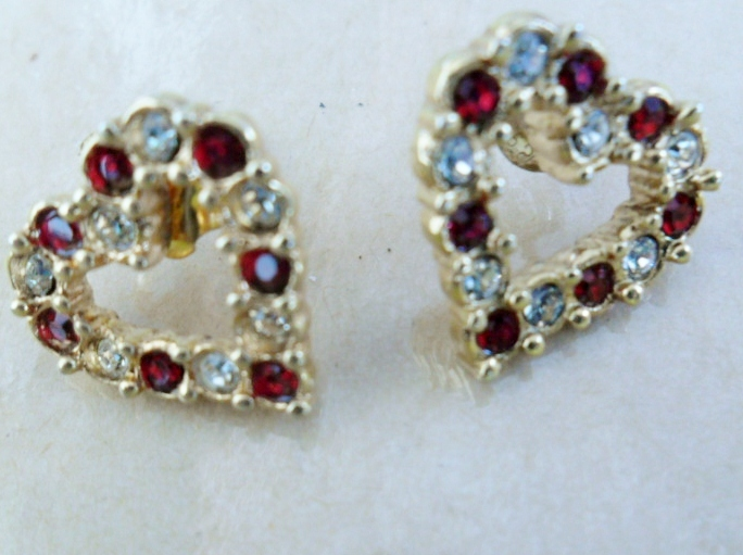 Vintage Heart Shape Earrings CZ and Garnets set in10K or Gold Fill Jewelry
